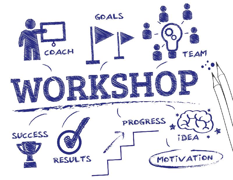 A imagem mostra um quadro com vários nomes em inglês, como workshop, motivation, success, results, etc.