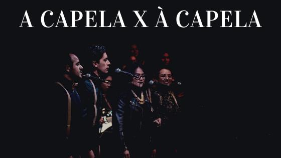 A imagem mostra uma grupo de cantores formados por dois homens e três mulheres, que cantam à capela.