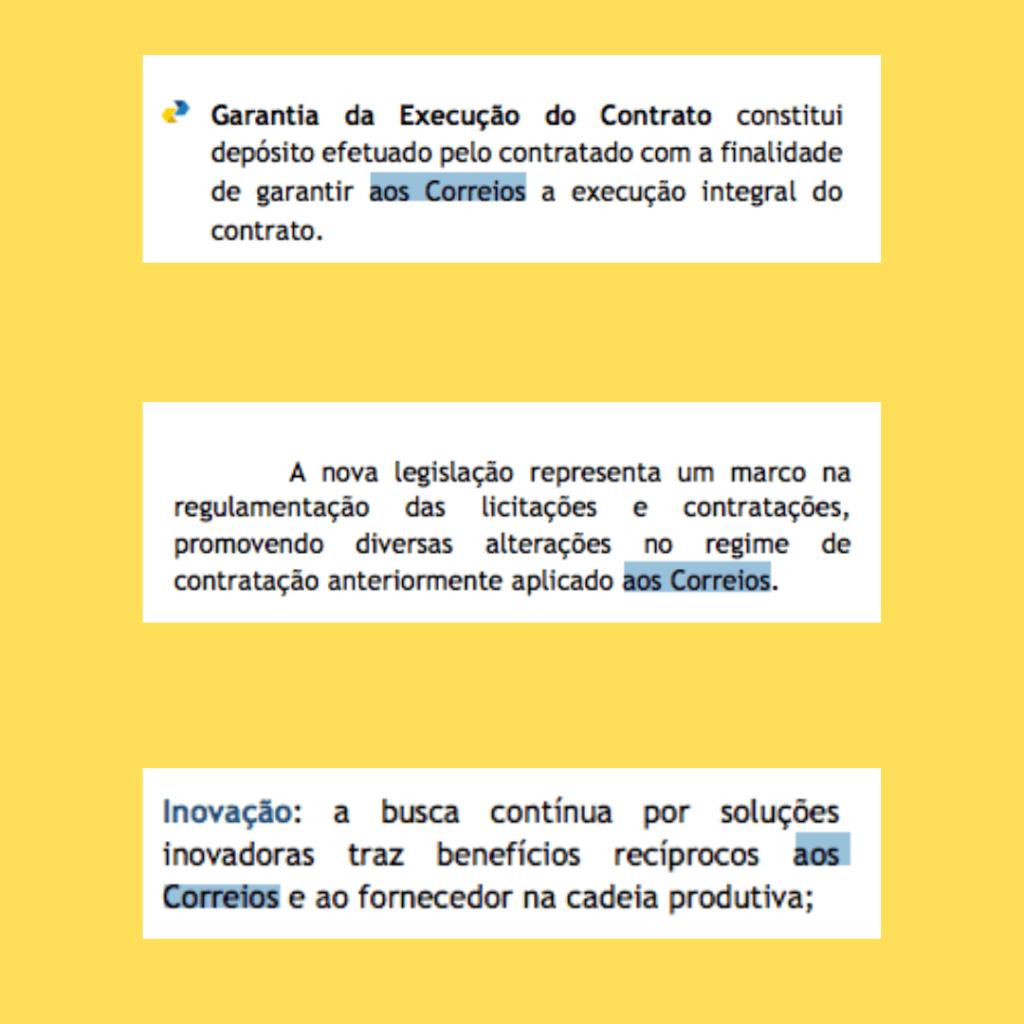"""A imagem mostra trecho de documentos dos Correios, nos quais está destacado a expressão """"aos Correios""""."""